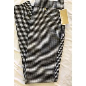 Michael Kors Black White Checkered Stretch Legging